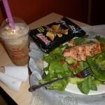 Panera Bread West Hartford Salmon Salad and Icy Caramel Mocha