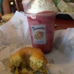 Panera Bread - Strawberry yogurt smoothie and pinapple lemon poppyseed bundt cake